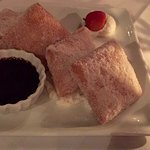Cinnamon-spiced beignets — warm beignets with lemon mascarpone and Mayan chocolate sauce.