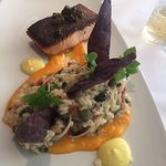 Salmon with clam risotto and the sashimi plate