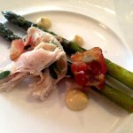 Glamis Castle Asparagus, Corned Rabbit, Smoked Pancetta with a Curry Mayonnaise