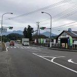 道の駅の向こうには、九重連山、左が久住山、右が大船山 久住ドライブの休憩と土産に寄る