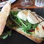 Halloumi sandwich (best item); banana bread French toast; quinoa salad; salmon mango salad; pata