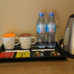 closeup on the hotpot, coffee, tea and bottle water