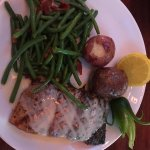 Salmon entree with Green Beans w/bacon and New Potatoes