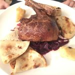 "Duck with ""loksche"" and red steamed cabbage"