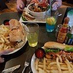 Seafood bowl and two po'boys!