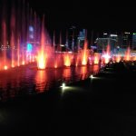 Display of lights, water and music