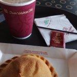 hot chocolate and empanada