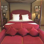 See my review... here was the very comfortable bed in lovely room- shame walls so thin!