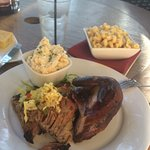 Brisket and chicken, grits, mac n cheese