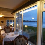 dining room at night with sea background