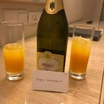 Orange juice on arrival and a bottle of wine to celebrate our wedding anniversary.