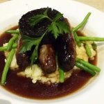 Venison Sausages , Cheesy Mash, Black Pudding and Beans