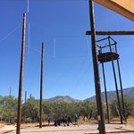 Miraval's cell phone court area, breakfast buffet, zip line telephone pole to climb & zipping pl
