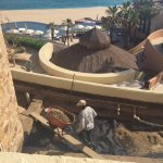Workers right below our plunge pool