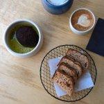 Avocado yogurt bread and cappuccino