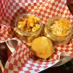 The Firehouse's sides - mac&cheese, cheesy potatoes, corn bread