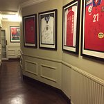 A collection of signed football shirts from teams who have stayed at the hotel.