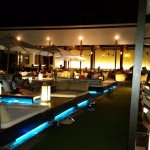 The Oceanside restaurant and bar area at night