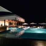Across the vanishing edge pool to the Oceanside restaurant