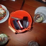 The red bucket was for everyones phones so we chat rather that chat on phones an interesting con