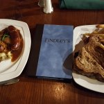 Bangers & Mash and Rueben with french fries at Findley's Irish Pub.