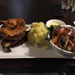 Steak with mash and salad