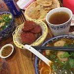 SPICY Pork Slices Noodles, SPICY Bursting Meat Ball Noodles, Trio Platter, Herbal Tea