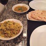 Takka dhal, mushroom rice, peshwari nan