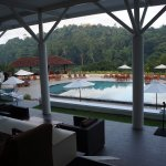 View of the pool and across the river from Cinnamon Kandy.