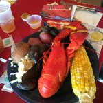 My husband's lobster. Side dishes were GREAT!