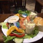 Smoked salmon and cream cheese salad with potato salad and homemade coleslaw really good
