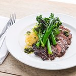 Grilled flat iron steak (cooked medium rare) broccoli