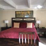 Spacious bed in suite (a second twin bed was located to the right of the main bed)