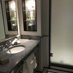 Modern bathroom, decent space, overhead shower