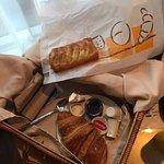 Breakfast left at the door in a picnic basket.