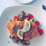 Pan-seared salmon + succotash