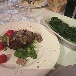 Truffle Steak with Garlic Spinach