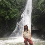 Visiting a waterfall in Dharmsala