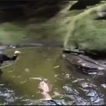 wading in canyon pool