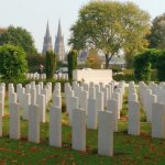 British War Cemetery, with Bayeux Cathedral in background