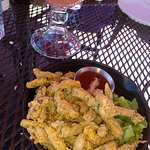 cactus fries and a prickly pear margarita