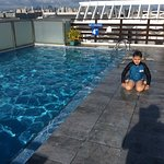 youngest trying out the roof top pool