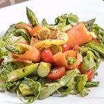 Grilled Asparagus Salad: Smoked Salmon, Grape Tomatoes, Baby Organic Arugula, Balsamic Vinaigret
