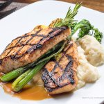 Teriyaki Swordfish Filet: Cauliflower Purée, Roasted Broccoli @ Philip Marie Restaurant