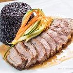 Pan Roasted Mallard Duck Breast: Chinese Forbidden Black Rice, Apricot Bourbon Sauce @ Philip Ma