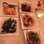 Basa fish, Steak Saigon, Peppercorn prawns, lemon grass chicken, garlic green beans