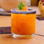 La Paleta Margarita.  Charred Jalapeno Tequila, Carrot Juice, Cilantro Simple Syrup, Lime Juice