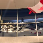 Reflection of the salmon decoration in upper level, The Port Theatre , 125 Front St, Nanaimo, Br