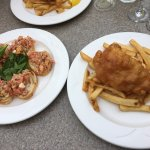 Bruschetta and Half portion of fish and chips