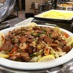 World Cafe breakfast - sausage and vegetables